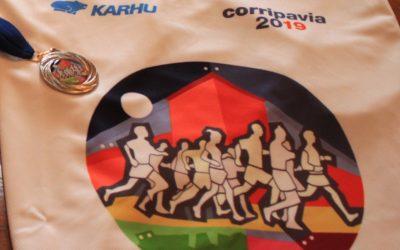 Medaglia e maglia tecnica della Corripavia con la Skultomedal dell'artista Bressani ed i colori originali dell'opera